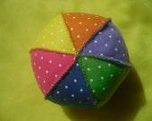 Spotty Felt Baby Ball - Fun Summer Bright.  Waldorf Toy.