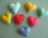 7 Felt Heart Shape Magnets, Days of the Week Magnets for Noticeboard