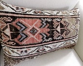 RESERVED - Kazak Rug Pillow - Kilim Pillow - Bolster Pillow - Lumbar Pillow - Stuffed