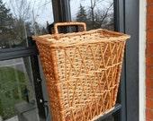 Vintage Wicker Basket - Hanging Wall Basket - Magazine Holder - Storage Basket - Knitting Basket - Flower Basket
