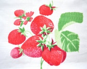 Strawberry Linen Tablecloth - Rectangular Tablecloth - Patterned Tablecloth - Red Berries with Green Leafs