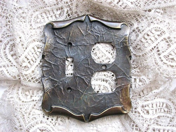 Vintage 1960s Metal Light Switch Plate Cover Unusual Double