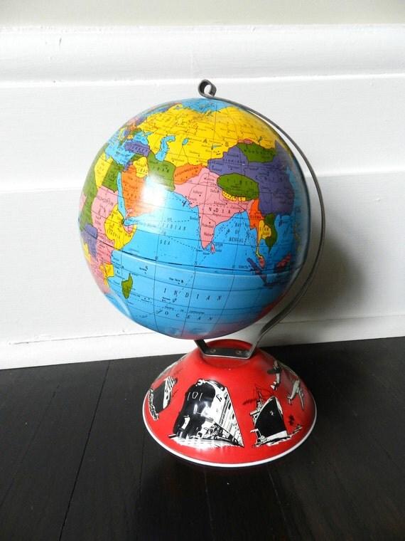Vintage Tin Globe - World Globe - Desk Globe - Ohio Art Globe - Made in USA
