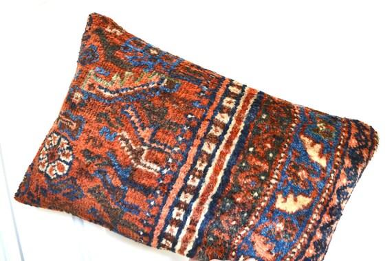 Persian Rug Pillow - Kilim Pillows - Oriental Carpet Cushion - Vintage Handmade Area Rug