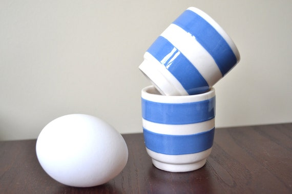 Cornishware Egg Cup - Cornish Kitchenware Egg Cups - T G Green - Blue Stripe