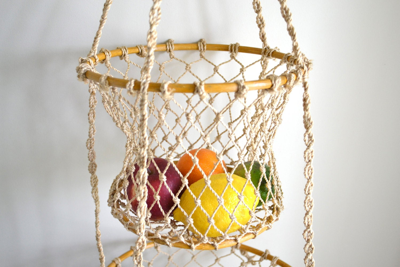 2 Tier Hanging Basket Country Kitchen Garden Bathroom Or