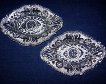 Pair of Lacy Sandwich Glass Dishes