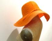 OSCAR de la RENTA Orange Floppy Wide Brimmed Beach Hat