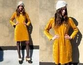 90's Mustard Yellow Velvet Scoop Neck Stretchy Grunge Goth Dress