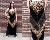Burnout VELVET Black FLAPPER Fringe Bodycon Tight Prom Fancy Dress
