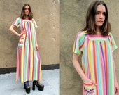 Rainbow Neon Striped Oversized Beach Muumuu House Dress