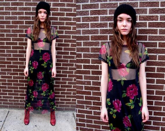 90's Mesh Floral Black Rose Stretchy Sheer See Through Grunge Maxi Dress