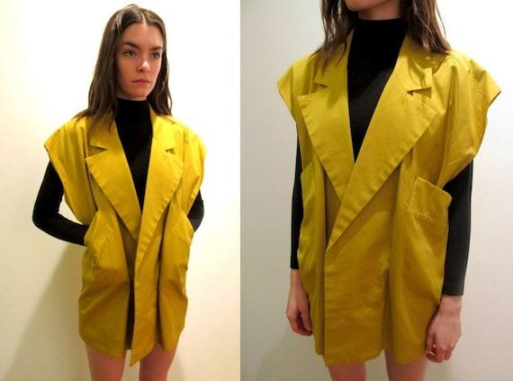 Vintage Oversized Mustard Yellow Sleeveless Menswear Assymetrical Shirt Vest