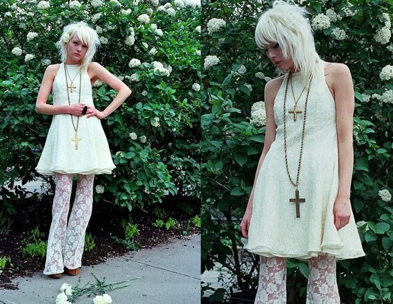 White Lace Whimsical Poofy Floral Wedding Prom Mini Dress