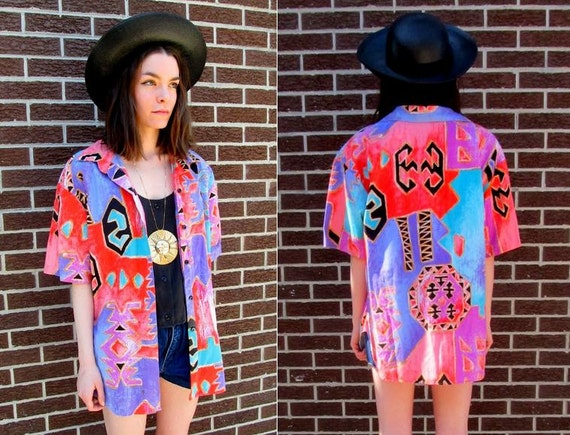 80's Pink Pastel Abstract Print Geometric Oversized Aztec Double Layered Shirt