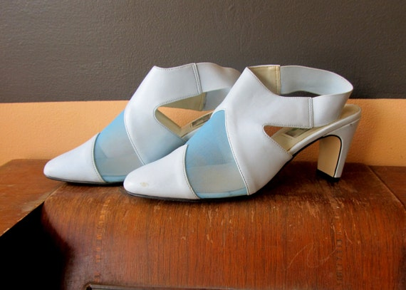 Baby Blue Pastel Mod Mesh See Through Cut Out Heels Shoes 8