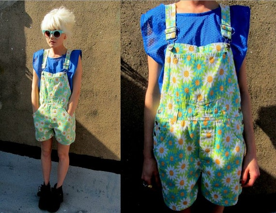 Floral Neon Pastel Daisy Lime Greeen Grunge Denim Overalls Shorts