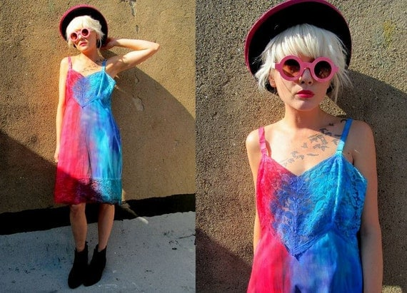 Red Blue Tie Dye Ombre Lace Sheer DIY Nightgown Floral Dress