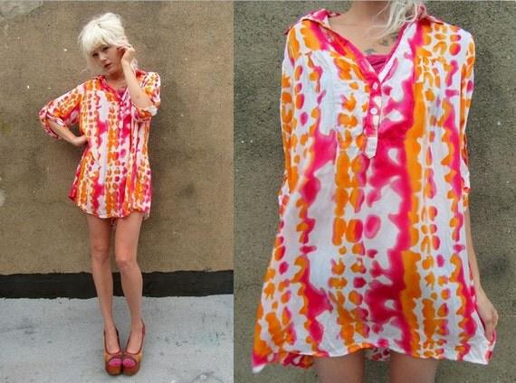 TIE DYE Pink Orange Hippie Deadhead Bohemian Neon Bright Dress