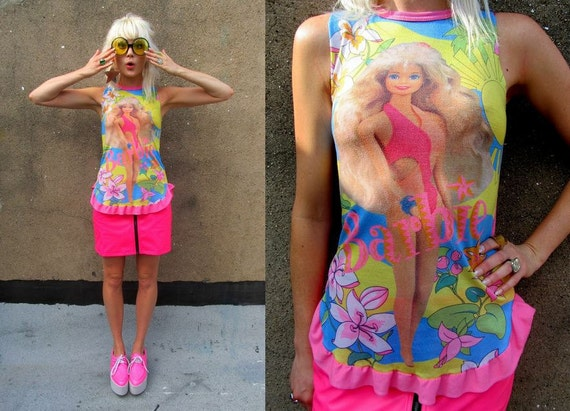 BARBIE Pink Floral Surfer Sheer Tropical Faded Ruffled Girly Shirt