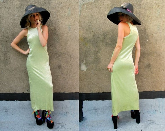Velvet Pastel Lime Chartreuse Green Bodycon Stretchy Tight Maxi Dress