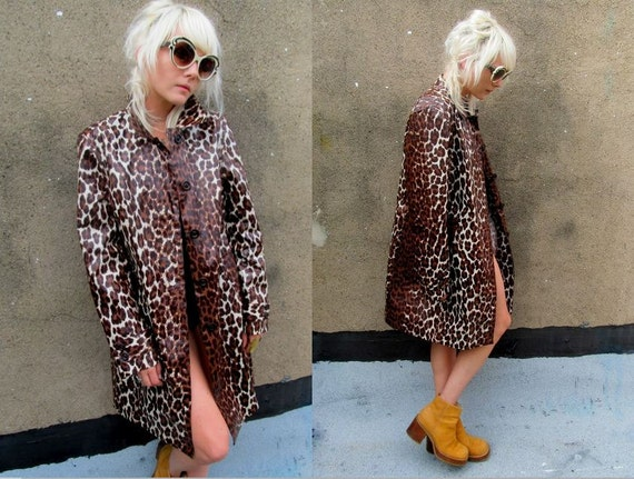 Leopard Print Plastic Vinyl Long Raincoat Windbreaker Jacket