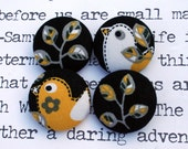 Fabric Covered Bird and Flower Buttons