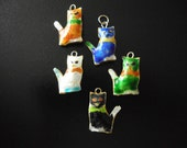 Cat charms 5 hand painted 27 mm colors