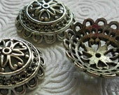 Beadcaps 3 large silver filigree 26x9mm, 3 pieces