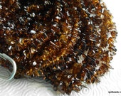 Quartz crystal chips Root beer brown beads 36 inch strand