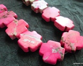 Stone cross beads hot pink 16 inch strand 24mm