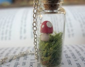 Mushroom and moss in a glass Bottle Necklace -- red mushroom necklace -- moss bottle necklace