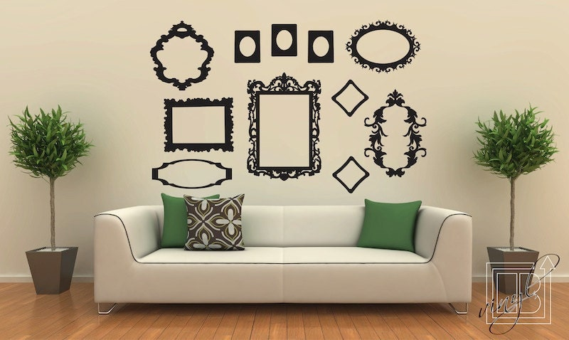 wall decal frames large collection wall vinyl wall silver photo frames wall stickers by the binary box