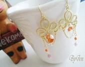 Orange Floral Earring
