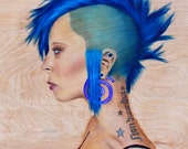 Punk rock, Mohawk, Original art, Oil painting, wood, modern art, blue, gauges,tattoos