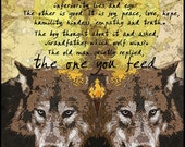 The one you feed, wolf art, painting print nature animals mixed media Cherokee Legend Tara richelle