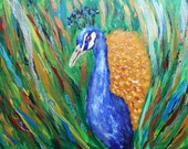 Peacock painting, metallic,abstract,modern art,original painting,feathers,gold,silver,blue