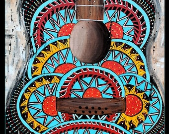 Retro guitar poster, hippie , abstract,music art,70's art,psychadelic,funky,hippie art,turquoise,coral,alternative,guitar painting, festival