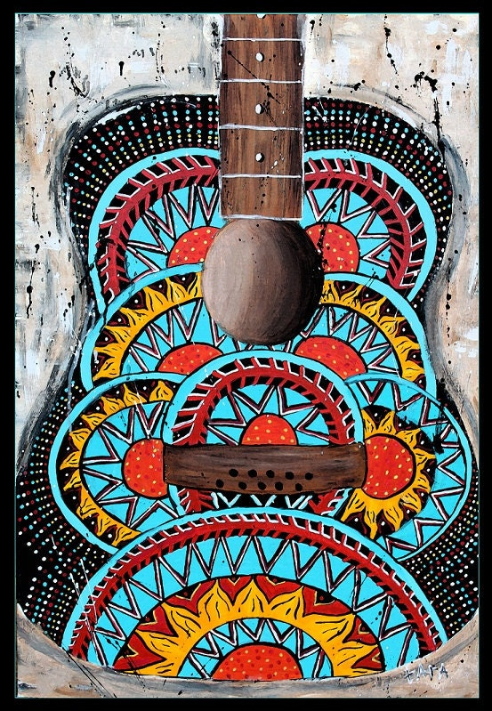 Retro guitar poster hippie abstractmusic art70's