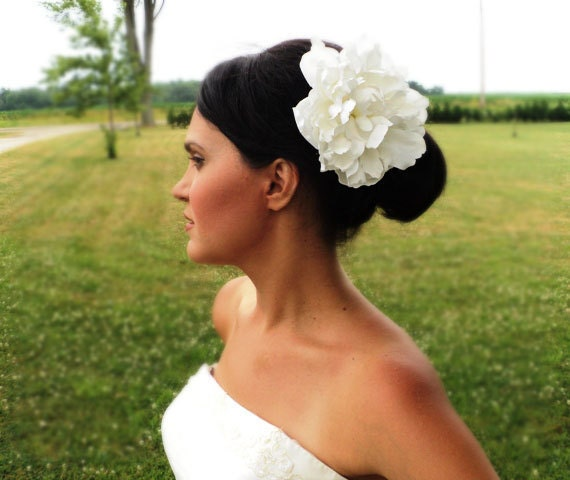 Bridal Flower Hair Clip Peony Wedding Accessories  Off White