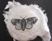 Vintage Moth Image Felt Brooch