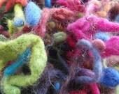 50g Multicoloured Hand dyed Wool Slubbs - 'Happy' rainbow colours.