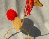 Wooden Toy - Walking Bird Wooden Puppet, Red - Easy to Use - Recycled Wood Product - Handmade - Ages 5 and Up - Christmas Gift