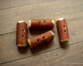 Set of 4 Arbutus Tree Buttons- Hand made- Rustic- Craft supply - sewing- knitting - crafts