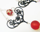 Red and Black Filigree Chandelier Earrings