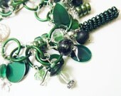 Emerald Green Charm Bracelet with Glass and Aluminum OOAK - fringeandflourish