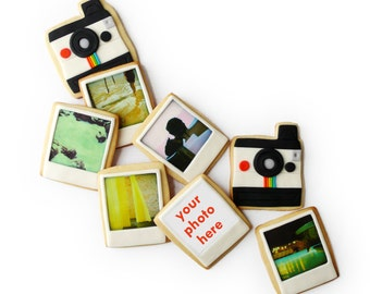 polaroid camera and custom photo cookies gift box (8 cookies)