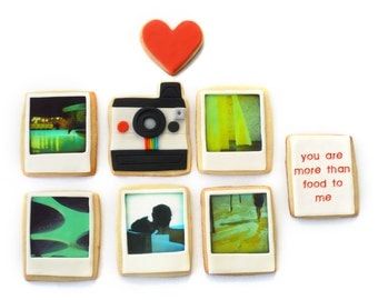 valentine's custom polaroid photos and message cookie gift box (8 cookies)
