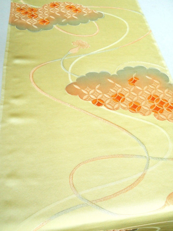 Vintage Japanese Kimono Silk - Intense buttery yellow silk with orange, peach and gray with Japanese motifs
