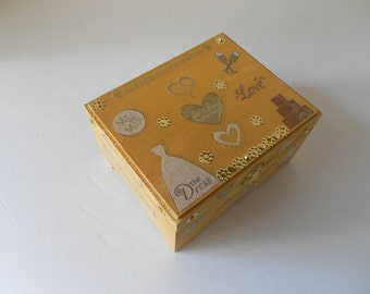 Wedding Memory Box Everythings Golden Theme Gold painted